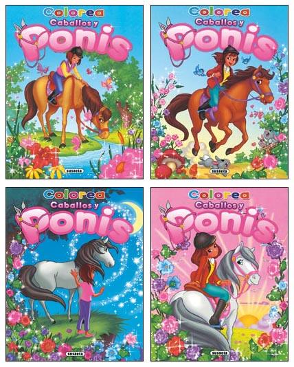 Colorea caballos y ponis (4 títulos)