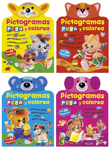 Pictogramas - Pega y colorea (4 títulos)